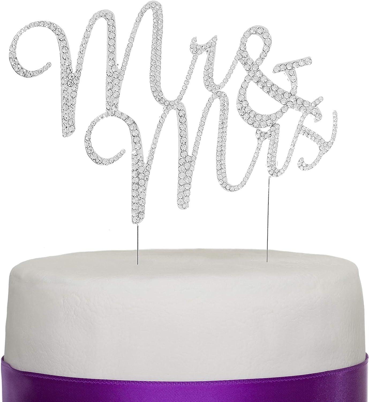 Ella Celebration Max 53% Fashionable OFF Mr and Mrs Monog Topper Cake Wedding Rhinestone