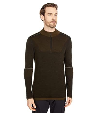 Smartwool Intraknit Merino 250 Thermal Color-Block 1/4 Zip (Military Olive) Men