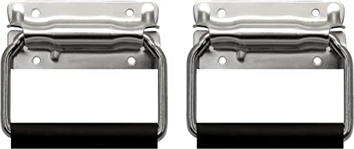 TCH Hardware 2 Pack Large Spring Loaded Heavy Duty Steel Surface Mount Handle with Padded Grip - Zinc Finish Flight Road Case Chest Cabinet