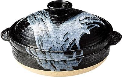 三陶 萬古焼 土鍋 ブラック 7号 1.4L 利行窯 白釉流し掛け 16721