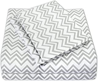 Sweet Home Collection 4 Piece 1800 Thread Count Egyptian Quality Deep Pocket Bed Sheet Set, Queen, Chevron Gray