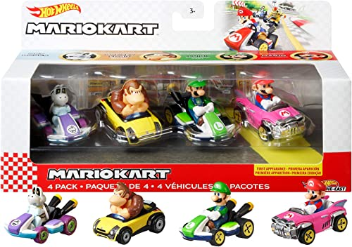 high quality Hot Wheels Mario Kart Vehicle 4-Pack, Set of new arrival 4 Fan-Favorite Characters Includes 1 Exclusive Model, Collectible Gift wholesale for Kids & Fans Ages 3 Years Old & Up online