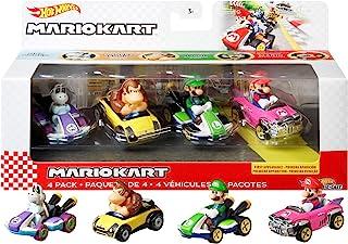 Hot Wheels GWB37, Mario Kart metalen replica's van personages in 4-pack Elk pack bestaat uit populaire personages en 1 exc...