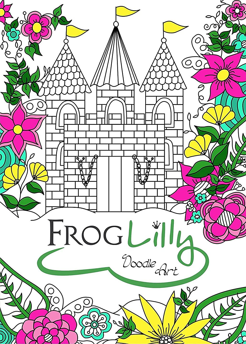 FrogLilly Doodle Art Adult Coloring Book w/ Unique Lay Flat Pages - Travel Size for Anti Stress and Fun - 50 Pages Floral, Nature, Animal, Holiday and Mandala Type Designs