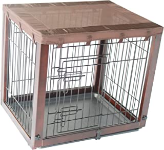 Simply Plus Deluxe Wooden Dog Crate [Newly Designed Model], with Slide Tray, Oxford Cloth Top-Medium