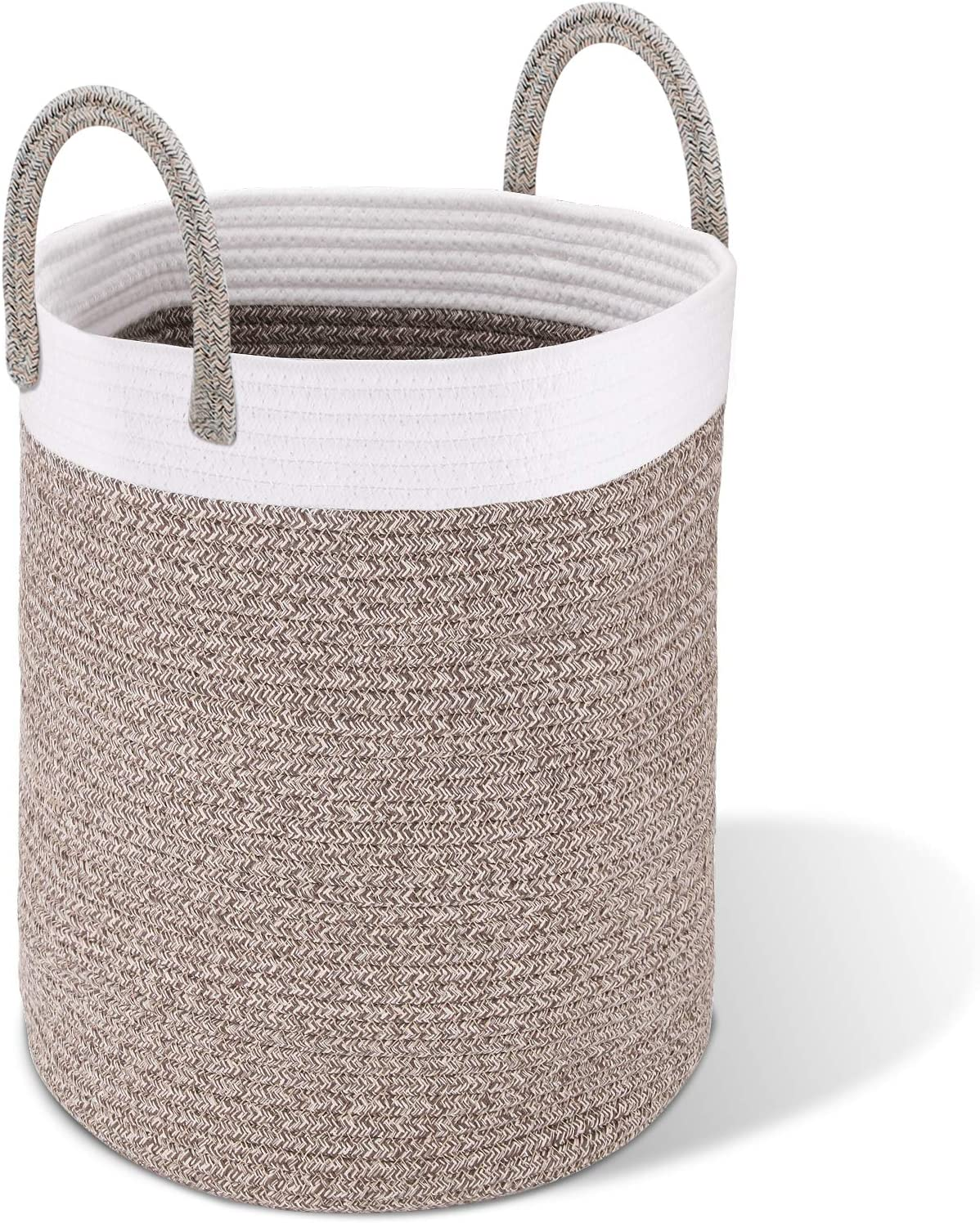 MX·HYKER Woven Rope Laundry Basket Tall–Decorative Storage Laundry Hamper 100% Natural Cotton Storage Basket, Rope Basket, Kid Toy Basket Storage Bin,Blanket Basket Living Room19X15