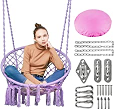 Greenstell Hammock Chair Macrame Swing with Hanging Kits, Hanging Cotton Rope Swing Chair, Comfortable Sturdy Hanging Chai...