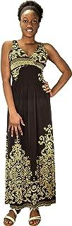 فستان نسائي طويل من بيتش كوتور مزين بنقشة بيزلي وخصر مطرز بدون أكمام