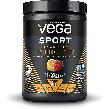 Vega Sport Sugar Free Energizer, Strawberry Lemonade - Vegan Certified, Keto-Friendly, Gluten Free, Dairy Free, Soy Free, Non GMO, Natural Pre Workout Powder (35 Servings)