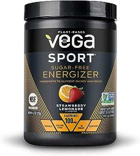 New Vega Sport Sugar Free Energizer Strawberry Lemonade (35 Servings, 4.3 oz) - Vegan, Keto-Friendly, Gluten Free, Sugar Free, All Natural, Pre Workout Powder, Non GMO (Packaging may vary)