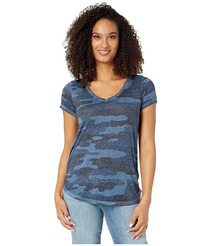 Lucky Brand  Camo Burnout Tee (Blue Multi) Womens T Shirt