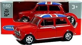 Welly Mini Cooper Mini Model (Rojo) con Union Jack Top Hecho de Piezas fundidas de Metal y plástico, Pull Back & Go Action Toy