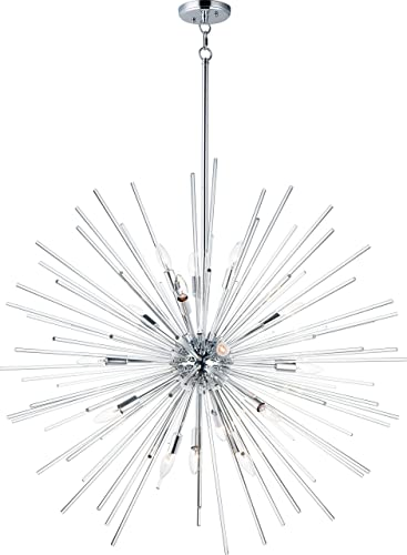 "discount Maxim 28666CLPC Polaris Glass Rods Sputnik Ball Pendant Ceiling discount Light, 16-Light 960 Total Watts, online 38""H x 40""W, Polished Chrome online sale"