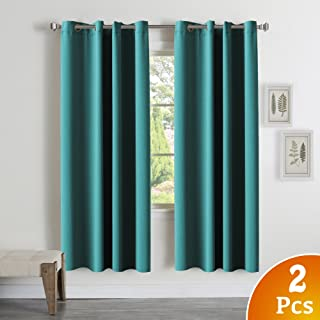 Room Darkening Teal Curtains for Bedroom 2 Panels Blackout Draperies Curtains for Kids Room Window Treatment Thermal Insulated Solid Grommet Blackout Drape Panels, Teal, 52
