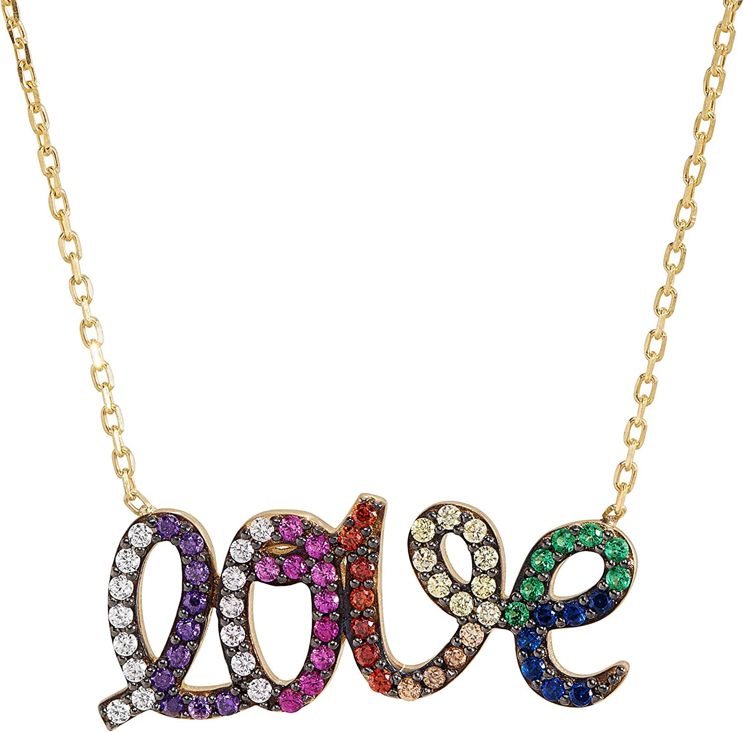 'Love' Rainbow Cubic Trust Zirconia Script Gold-Plated Necklace Challenge the lowest price of Japan in Ste