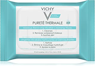 Vichy Purete Thermale 3-in-1 Makeup Remover Wipes with Micellar Cleanser Water & Vitamin E