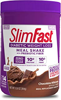 SlimFast Diabetic Weight Loss - Chocolate Milkshake Mix - 10g Protein - 12.8 Oz. - 14 Servings - Pantry Friendly
