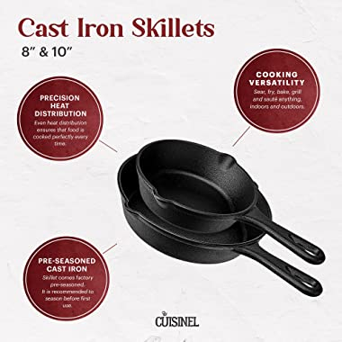"""Cuisinel Cast Iron Skillet Set - 8""""+10""""-Inch + Glass Lids + Silicone Handle Holder Covers - Pre-seasoned Frying Pans"""