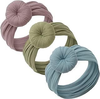 Baby Girl Headbands and bows - Nylon Turban Round Knot Headband Fits newborn toddler infant girls