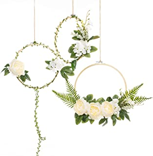 UNIQOOO Set of 3 Floral Hoops Wreaths | Modern Chic Artificial White Peony Fern Flower Wall Hoop Garland | Perfect for Wedding Decor Bridal Shower Farmhouse Decoration Photo Prop Welcome Wreath