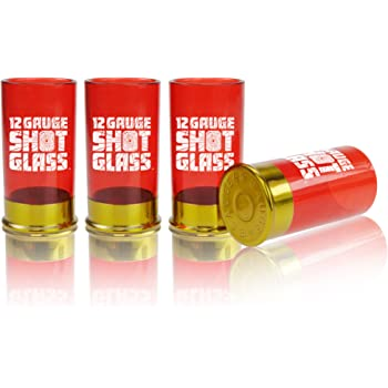 Mustard Plastic Shot Glass Shooter - Red 12 Gauge Cartridge
