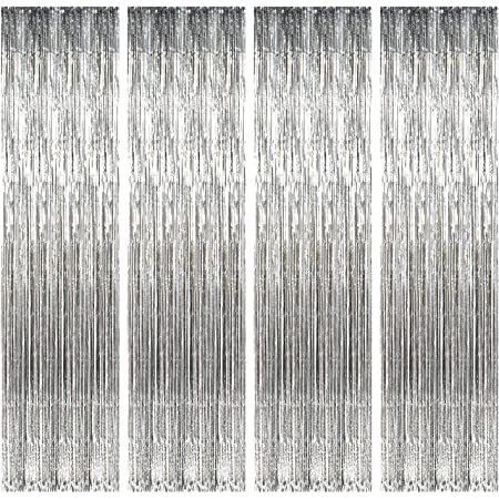 Party Propz Silver Foil Curtain Pack of 4 for Birthday, Anniversary, Marriage and Bachelorette Decoration