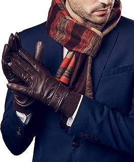 YISEVEN Men's Touchscreen Lambskin Leather Gloves Snug Cuffs
