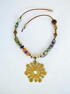 Gargantilla tribal para mujer de cuero con colgante africano y cuentas de colores, Regalo para ella