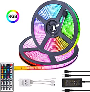 Led Strip Light Kit SMD 5050 16.4 Ft 300leds RGB 44 Key Ir Controller Color Changing LED Strip Lights with Remote for Home Lighting Kitchen Bed Flexible Strip Lights for Bar Home Decora (10M)