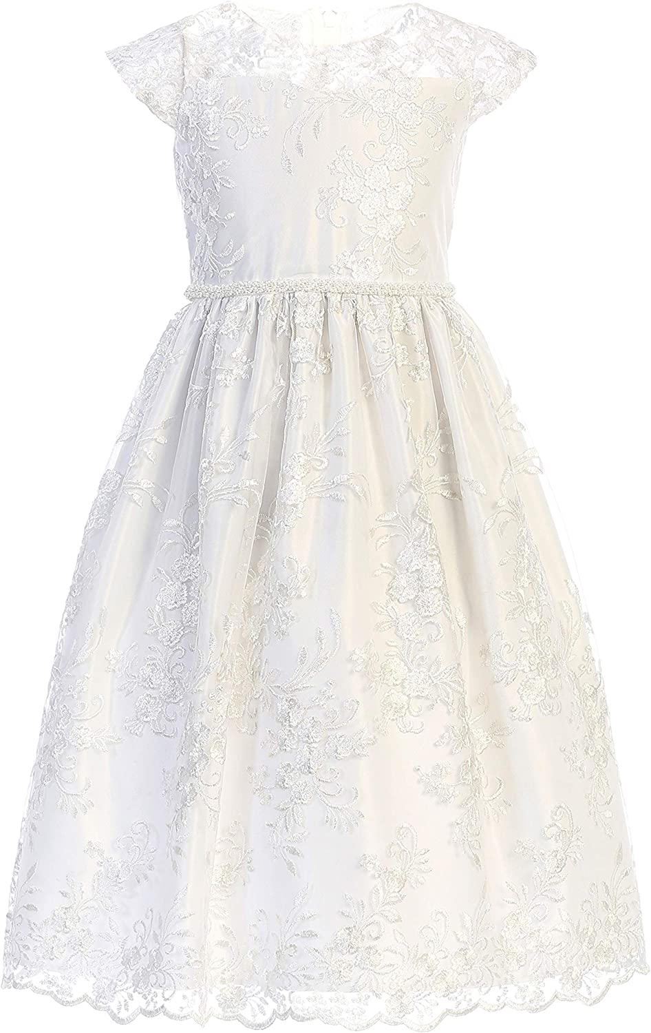Sweet Kids Girls' Floral Embroidered Lace with Pearl Trim Dress