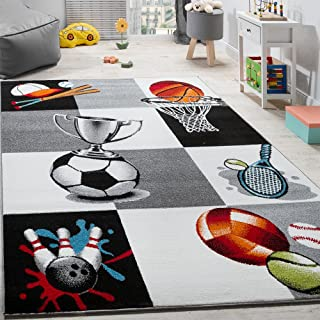 Paco Home Alfombra Infantil De Baloncesto Fútbol Y Tenis A Cuadros En Gris Y Crema, tamaño:80x150 cm