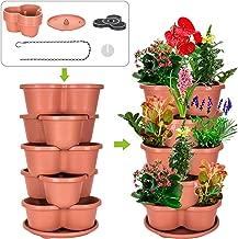 Amazing Creation Stackable Planter Vertical Garden for Growing Strawberries, Herbs, Flowers, Vegetables and Succulents| Indoor/Outdoor 5 Tier Gardening Tower| Hanging Planter (Terracotta)