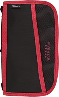 Five Star Pencil Pouch, Pen Case, Fits 3 Ring Binder, Multi-Pocket Pouch, Black/Red (50162CE8)