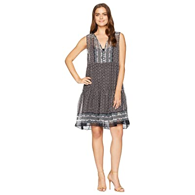 Dylan by True Grit Alessandra Sheer Rayon with Metallic Button Front Dress with Lining (Black) Women