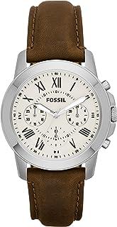 ساعة فوسيل جرانت للرجال بمينا اسود وسوار جلدي - طراز FS4813