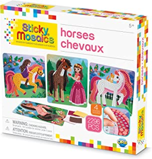 ORB The Factory Sticky Mosaics Horses Arts & Crafts, Brown/Yellow/Pink/Green, 12