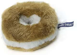 Copa Judaica Chewish Treat 4-Inch Diameter Bagel Cream Cheese Squeaker Plush Dog Toy, Small