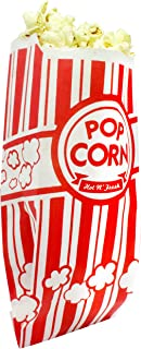 Popcorn Bags. Coated for Leak/Tear Resistance. Single Serving 1oz Paper Sleeves in Nostalgic Red/White Design. Great Movie Theme Party Supplies or for Old Fashioned Carnivals & Fundraisers! (50)