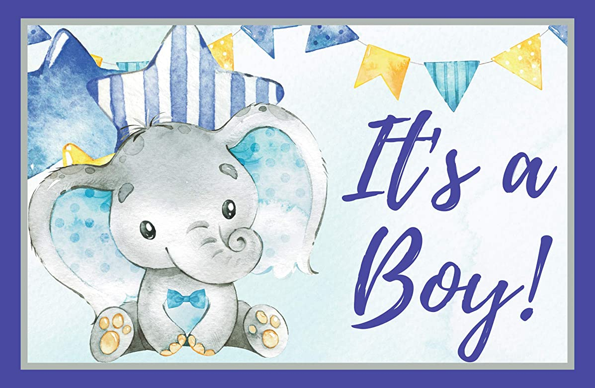 Its a Boy Elephant Baby Shower, Gender Reveal, Welcome Baby Home 11 x 17 Poster, Baby Shower Decorations, Supplies, Banner, Hospital Door Decor- Blue & Gray