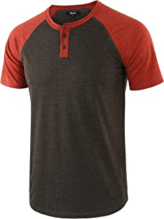 Men's Casual Vintage Short Raglan Sleeve Baseball Henley Jersey Shirts
