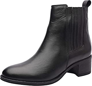 Iris Women's Genuine Leather Chelsea Ankle Booties with Mid-Heel, TPR Sole and Zip Closure