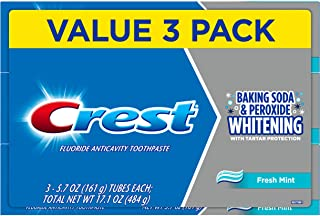 Crest Cavity and Tartar Protection Toothpaste, Whitening Baking Soda & Peroxide, (3 Count of 5.7 Tubes Each), 17.1 Ounce