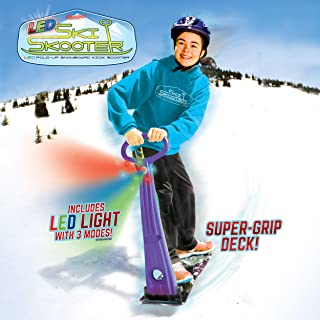 Geospace Original LED Ski Skooter: Fold-up Snowboard Kick-Scooter for Use on Snow, Assorted Colors (Red, Purple, Green or Blue)