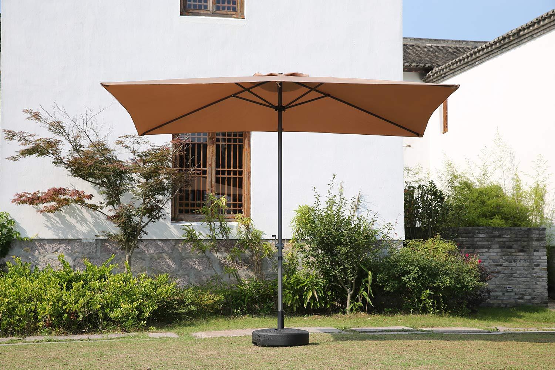 Angel Living Parasol de Jardín 2x3M Paraguas de Aluminio con Manivela Sombrilla de Sol Mástil de Alumino 38mm para Patio Jardín (Caqui): Amazon.es: Jardín