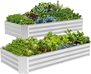 2 pcs 6x3x1ft Galvanized Metal Raised Garden Bed for Vegetables, Outdoor Garden Raised Planter Box, Backyard Patio Planter Raised Beds for Flowers, Herbs, Fruits
