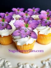 Sugar Butterflies Edible Wafer Violet Orchid flower,Cake/Cupcake Toppers, Set of 12