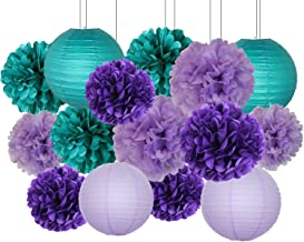 Furuix Mermaid Party Decorations /Under The Sea Party 16pcs Teal Lavender Purple 10inch 8inch Tissue Paper Pom Pom Paper Lanterns for Birthday Decor Baby Shower Decorations Frozen Party Supplies