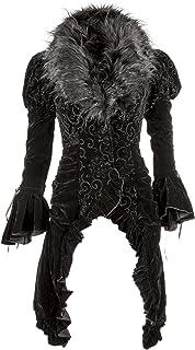 جاكيت نسائي من الفيكتوري ذو الذيل القوطي الفيكتوري المخملي باللون الأسود مع فراء صناعي