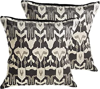MOTINI Traditional Pillow Covers Velvet Set of 2, Embroidered Decorative Throw Pillows Luxury Pillowcase for Bed Couch 20x20 inch