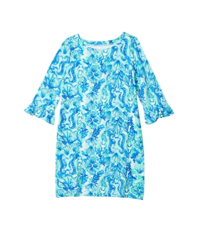 Lilly Pulitzer Kids UPF 50+ Mini Sophie Ruffle Dress (Toddler/Little Kids/Big Kids) (Seaglass Aqua Seeing Double) Girl